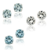 .925 Silver 2.10ct Topaz Stud Earrings, 6mm - 3 Colors