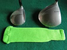 Knitted zebra style Fairway & Driver Golf Club head cover / Neon Lime