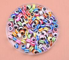Wholesale 40PCS 100pcs Evil Eye Stripe Round loose bead Resin Spacer Beads 6MM