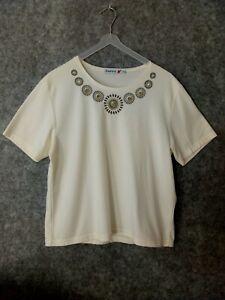 Poppy Size 16 Cream Green Embroidery Short Sleeve T-Shirt Vgc
