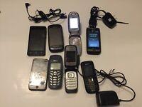 Vintage Lot of 8 Cell Phones flip Samsung, LG, Nokia, HTC, Vortex