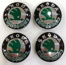 4x SKODA WHEEL CENTRE CAPS 56MM BLACK & GREEN HUB EMBLEM- FABIA OCTAVIA YETI VRS