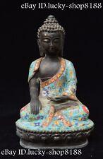 China Tibet Buddhism Bronze Cloisonne Enamel Shakyamuni Amitabha Buddha Statue