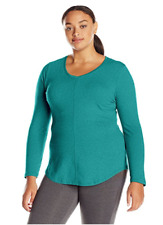 New Just My Size 3X Cotton Blend Center Seam L/S V Neck Tee Top  Emerald