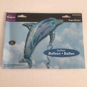 JUMBO Blue SeeThru Jewel DOLPHIN Luau Tropical Ocean Birthday Party Balloon Pool