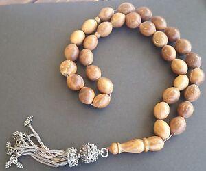 Prayer Beads Rosary, Tesbih, Masbaha - Brown Kuka Wood - HUGE 100g, Very old