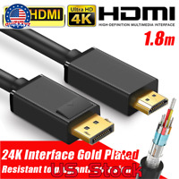 4K 1.8M DISPLAY PORT DP TO HDMI MALE CABLE FOR LCD PC LAPTOP AV CABLE ADAPTOR