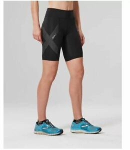 2XU Mid-Rise Womens Compression Running Gym Shorts Tights Bottoms Black
