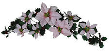 """Pink Poinsettia 35"""" Swag Garland Christmas Decor Artificial Flower Home Office"""