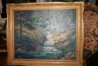"Oil Painting Framed Quince Galloway ""Small Mountain Brook"" 22"" x 28"" Signed"