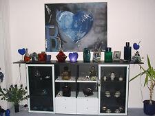 Hülsta Highboard Schrank massiv schwarz pastellblau 2 Glastüren leer