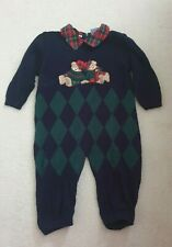 Baby Boys CARRIAGE BOUTIQUES Outfit  One Piece  24 Months Navy Check Pattern