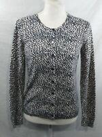 Ann Taylor Sweater Cardigan Button Up Black Cream Size Medium