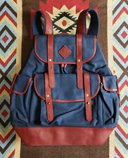 Ralph Lauren RL Leather Trimmed Canvas Backpack Rucksack Bag
