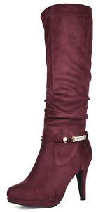 DREAM PAIRS Womens Knee High Boots High Heel Platform Faux Fur Warm Winter Boots