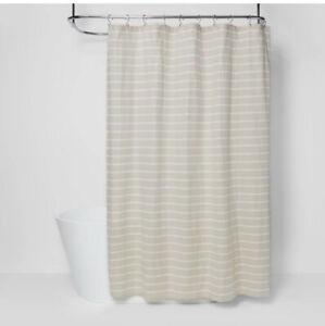 "Threshold Neutral Striped Fabric Shower Curtain 72"" X 72"" Tan White Beige"