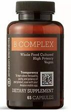 Amazon Elements B Complex, High Potency, 83% Whole Food Cultured Vegan 65 Caps P