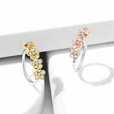 Four CZ Flowers Ear Cartilage Earrings Daith Tragus Helix Hoop Nose Rings 20G