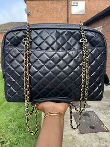 AUTHENTIC CHANEL VINTAGE LARGE CAMERA BAG IN BLACK