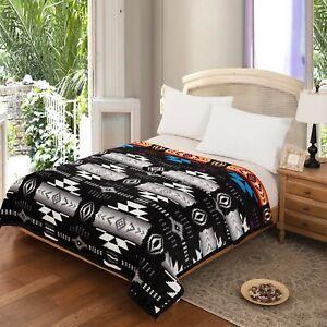 Southwest Design Silk Touch Reversible Queen Size Blanket Oak Grey - Black