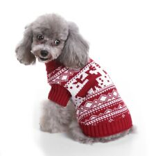 Pet Dog Knit Sweater Christmas Outfit Winter Clothes Dress Up Costume Red_L