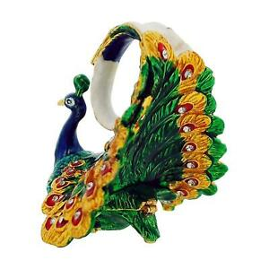 The Olivia Collection Rhinestone Set Trinket/Keepsake Peacock + Branded Box