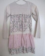 Naartjie 10 Dress White Pink Tier Ruffle Corduroy Lace Floral Long Sleeve Girls