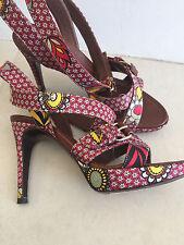 Sergio Rossi Satin Multicolor Strappy Buckles Platform Heels Sandals Shoes Sz 36
