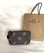 NWT Coach 22834 Nolita Wristlet Oxblood Cross Stitch Floral Purse Clutch $125