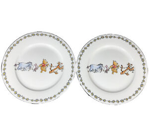 """Disney Winnie The Pooh Daisy Chain 10.5""""Dinner Plates Set Of 2 Dishes NEW NWT"""