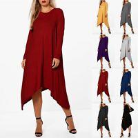 Womens Plain Long Sleeve Ladies Swing Hanky Hem Stretchy Flared Midi Dress Top