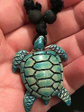 """Sea Turtle Yak Bone Seafoam Sparkle Blue 18"""" Adjustable Black Rope Necklace S3"""