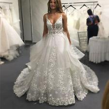 Neu weiß Elfenbein Spitze Brautkleider Hochzeitskleid Abendkleid Ballkleid