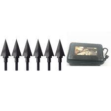 6 Pcs 0.5'' Cut 100 Grain 2 Blade Retro Black Arrow Points Broadheads + Case