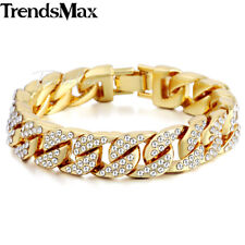 "8.58"" MENS Women Yellow Gold Plated Chain Bracelet 14mm Iced-out Curb Cuban Link"