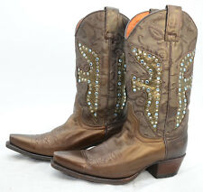 Frye Womens Sz 7 Crystals Studded Bronze Leather Western Cowgirl Riding Boots