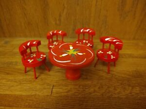Vintage Dollhouse Red Wood Table & 4 Chairs Hand painted