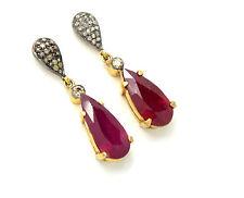 Echte-Ohrschmuck aus Gelbgold mit Rubin Butterfly-Verschluss für Damen