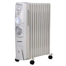 Heller Portable Oil Heater 11 Fin Fan Timer w/ 3 Heat Settings 400W Fan White