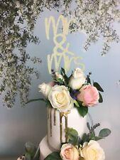 El Sr. & sra. Wedding Cake Topper, Aniversario, champán, varios colores Glitter