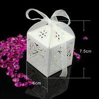 1-100 Laser Cut Heart Candy Gift Boxes Ribbon w/ Mini LED Lights Wedding Box Bag
