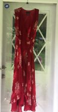 Ice Womens Dress RED Sleeveless SILK Floral WRAP LONG DRESS Size 8 Gourgeus