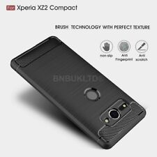 For Sony Xperia XZ2 Compact Carbon Fibre Gel Case Cover & Glass Screen Protector