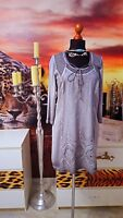 TREDY  GR.38 Damen used stretch Kleid mit Strick silber grau Spitze-Womens dress
