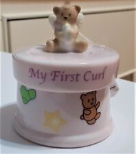 Russ Berrie My First Curl Trinket Box for Girl Pink Angel Bear Tag/Original box