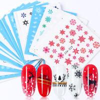 30 Sheets Snowflake Xmas Christmas Watermark Nail Art Water Stickers Decal Set
