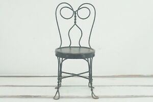 Vintage/Antique Black Childs Ice Cream Chair Antique Old Stool Parlor Soda #3