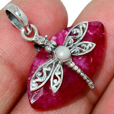 Dragonfly - Ruby & Pearl 925 Sterling Silver Pendant Jewelry AP182612