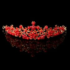 Bridal Wedding Rhinestone Faux Pearl Tiara Headband Crown Hair Accessories Red