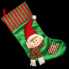 Verde& Rojo 50cm Calcetines Navidad con Peluche 3d elf Cabeza